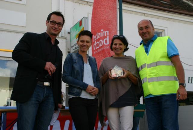 v. l. n. r.: Moderator Reinhard Hirtl, Maria Oreski (Lackier- und Karosseriebau Manufaktur), Brigitte Heindl (die möwe), Organisator Christian Lehner